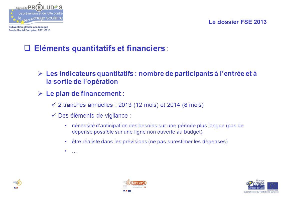 Eléments quantitatifs et financiers :