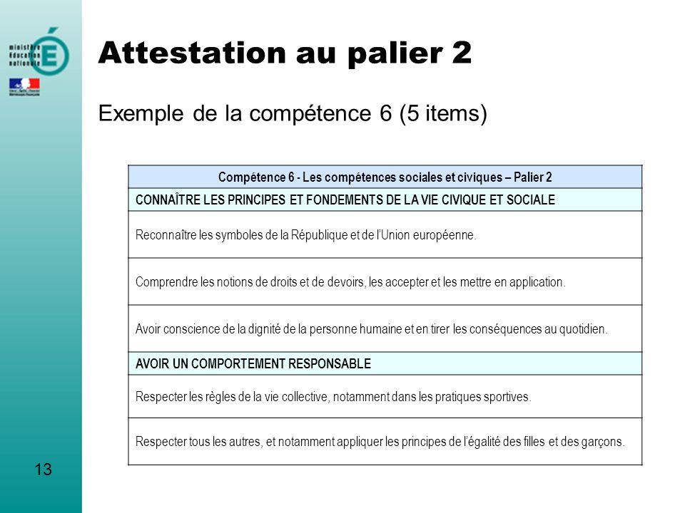Attestation au palier 2 Exemple de la compétence 6 (5 items)