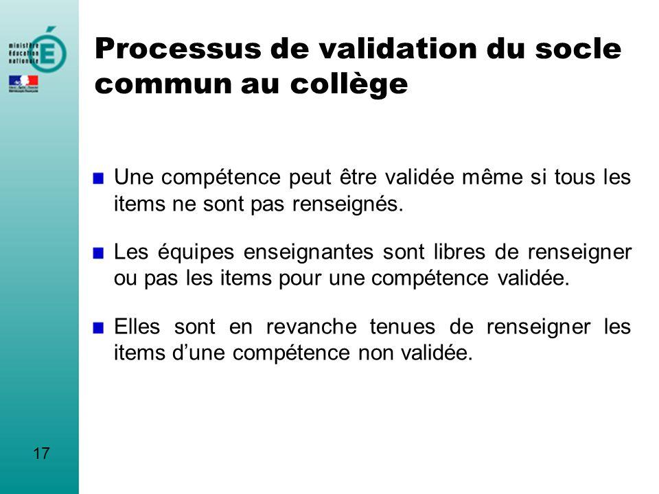 Processus de validation du socle commun au collège