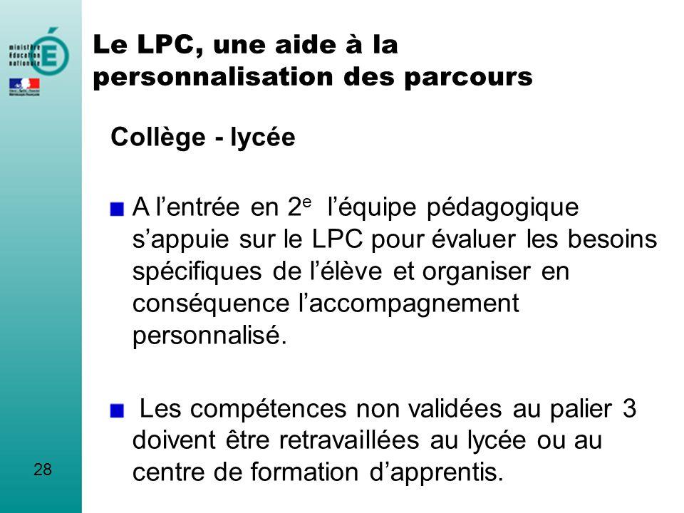 Le LPC, une aide à la personnalisation des parcours