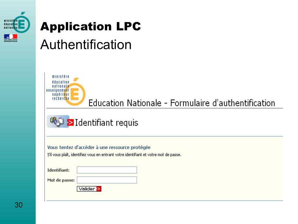 Authentification Application LPC 30 INTRO