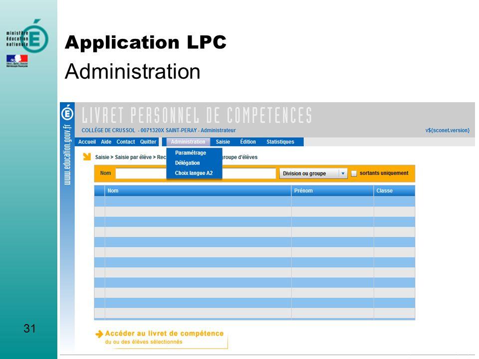 Administration Application LPC 31