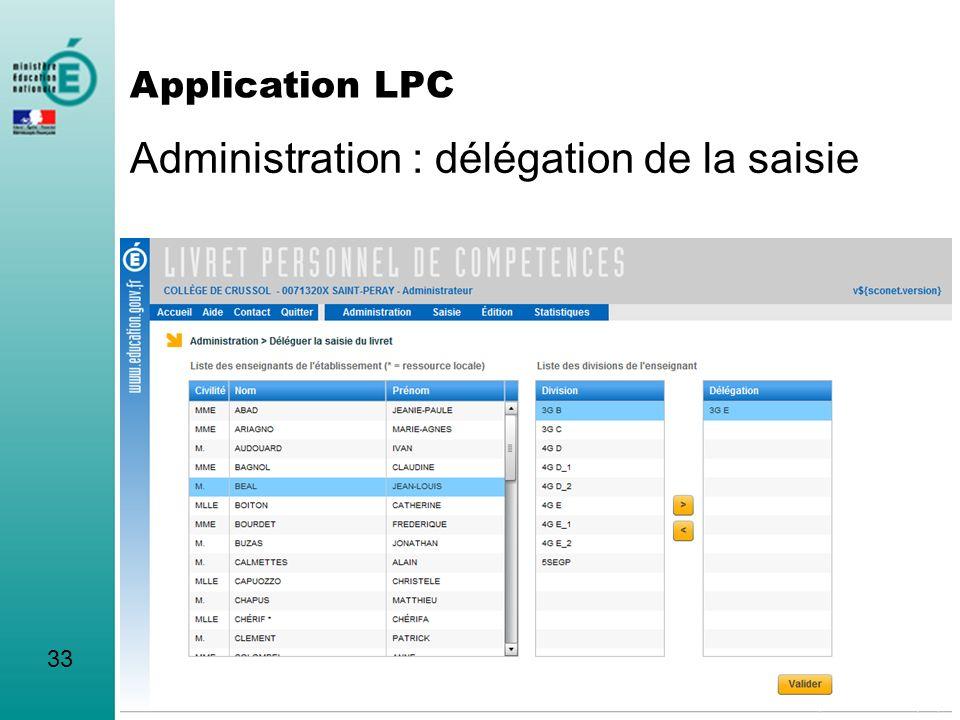 Administration : délégation de la saisie