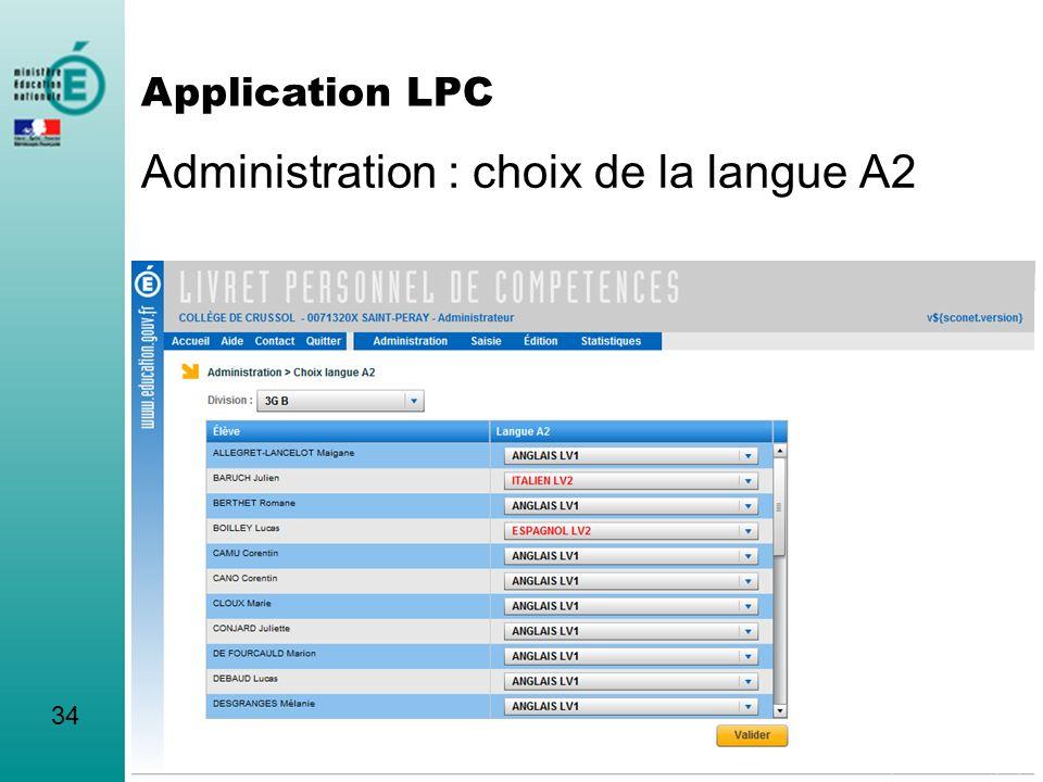 Administration : choix de la langue A2