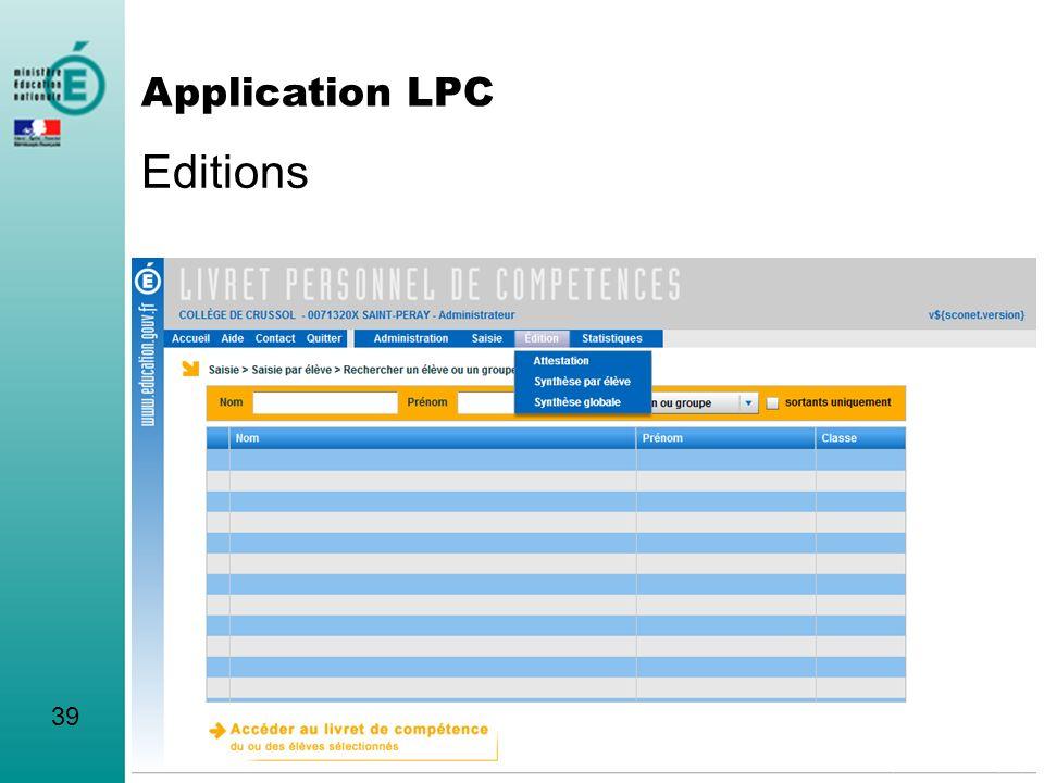Editions Application LPC 39 L'application a d'autres fonctionnalités