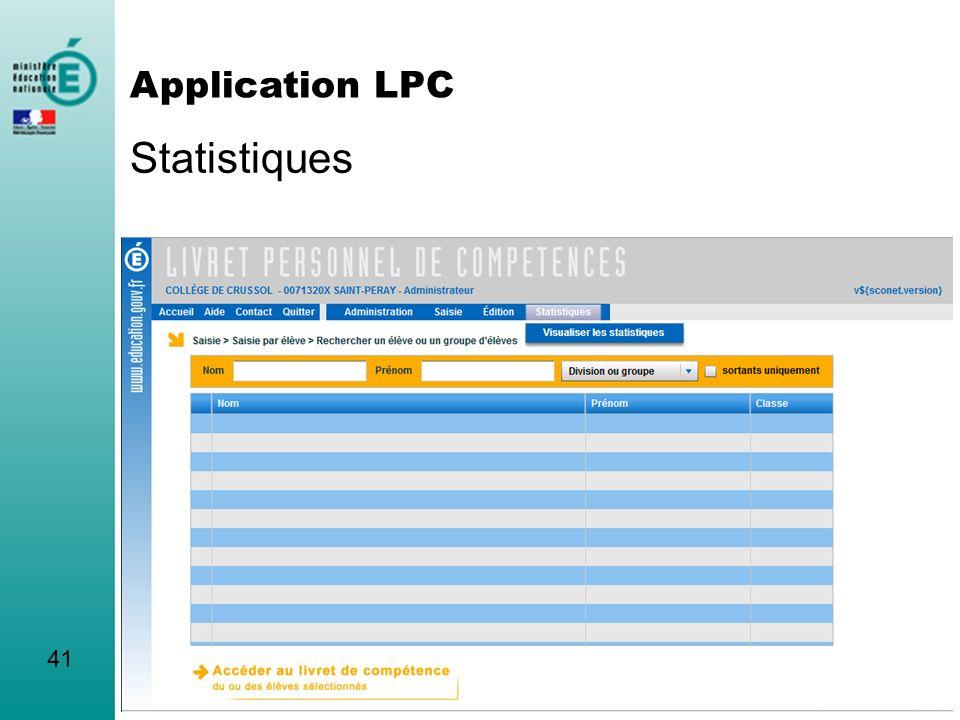 Statistiques Application LPC 41