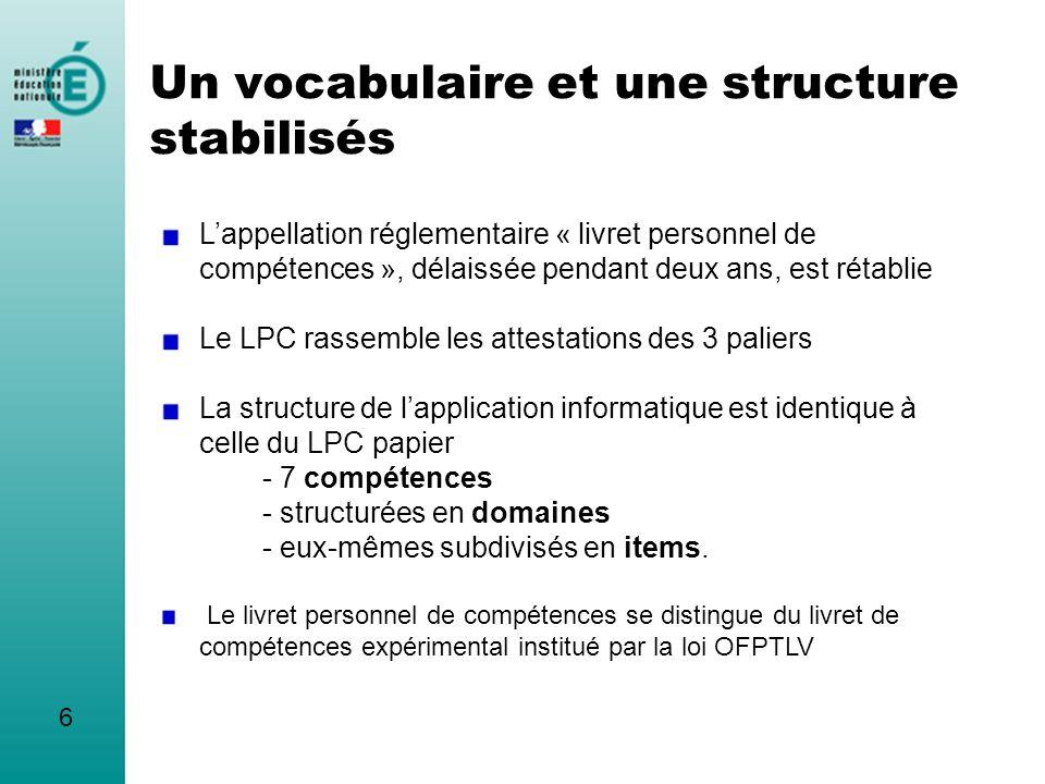 Un vocabulaire et une structure stabilisés