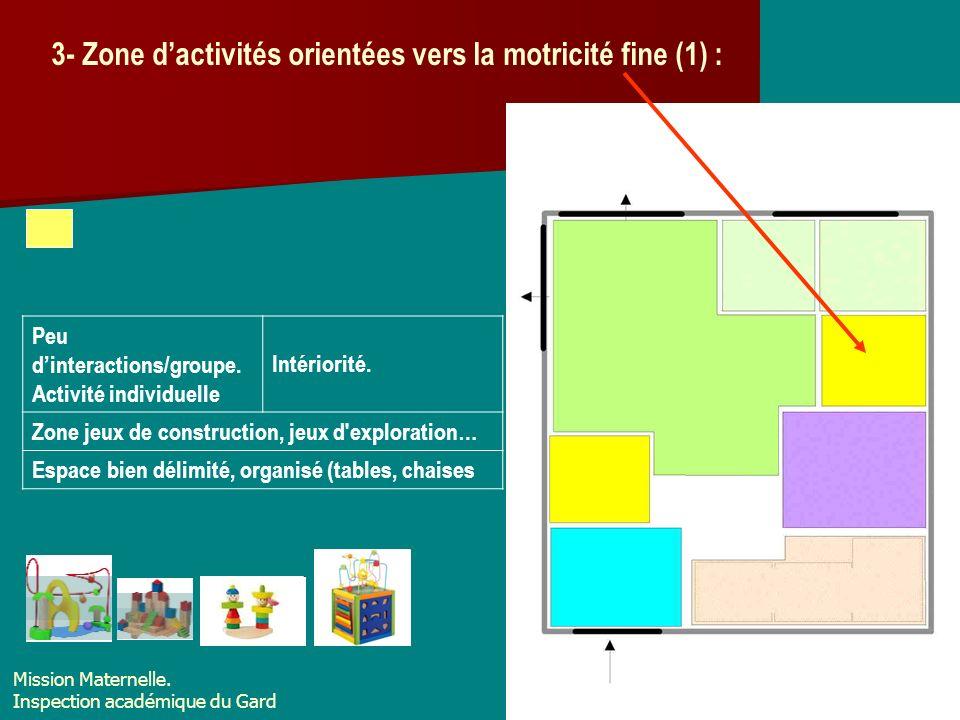3- Zone d'activités orientées vers la motricité fine (1) :