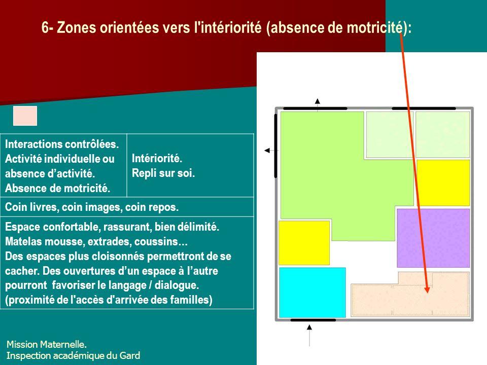 6- Zones orientées vers l intériorité (absence de motricité):