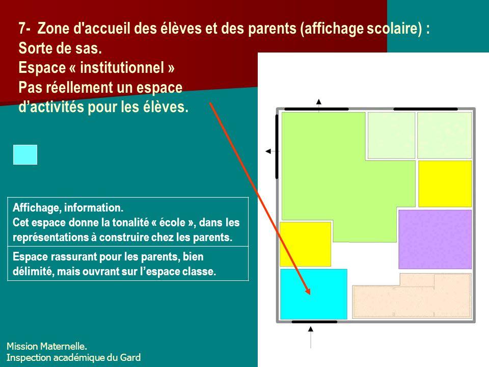 7- Zone d accueil des élèves et des parents (affichage scolaire) :