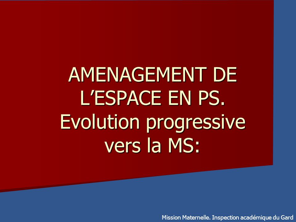 AMENAGEMENT DE L'ESPACE EN PS. Evolution progressive vers la MS: