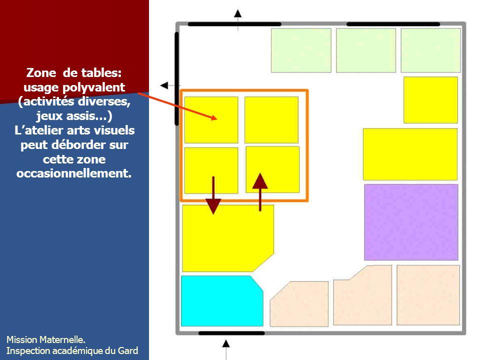 Zone de tables: usage polyvalent (activités diverses, jeux assis…)
