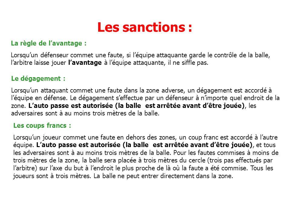 Les sanctions : La règle de l'avantage :