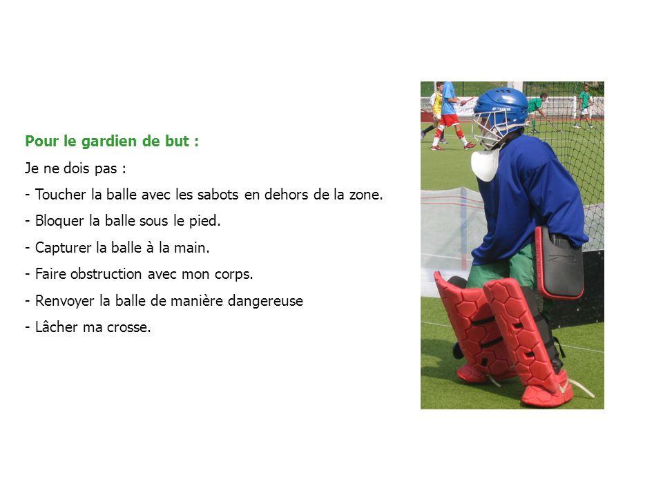 Pour le gardien de but : Je ne dois pas : Toucher la balle avec les sabots en dehors de la zone. Bloquer la balle sous le pied.