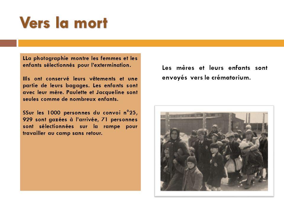 Vers la mort LLa photographie montre les femmes et les enfants sélectionnés pour l'extermination.