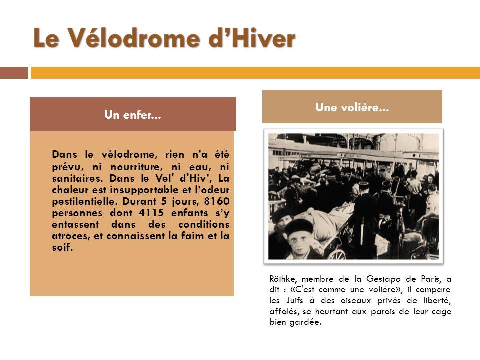 Le Vélodrome d'Hiver Une volière... Un enfer...