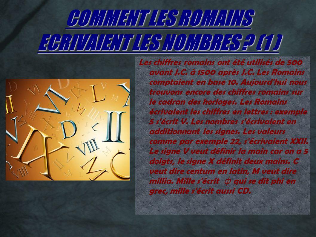COMMENT LES ROMAINS ECRIVAIENT LES NOMBRES (1 )