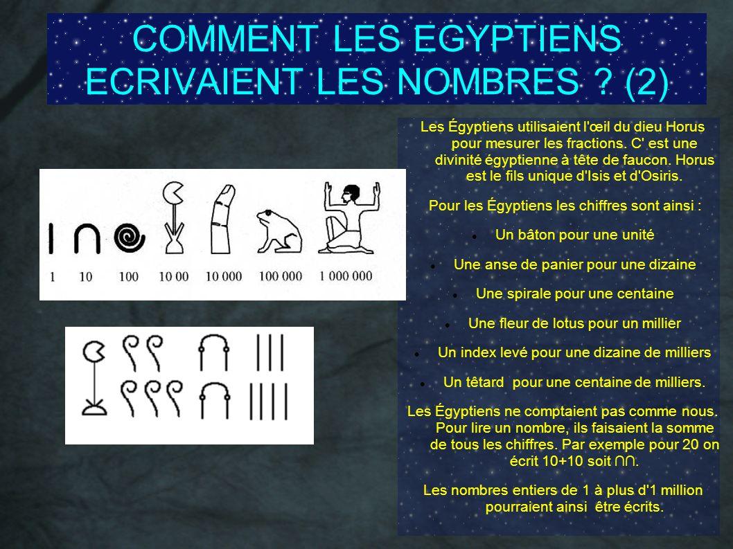 COMMENT LES EGYPTIENS ECRIVAIENT LES NOMBRES (2)