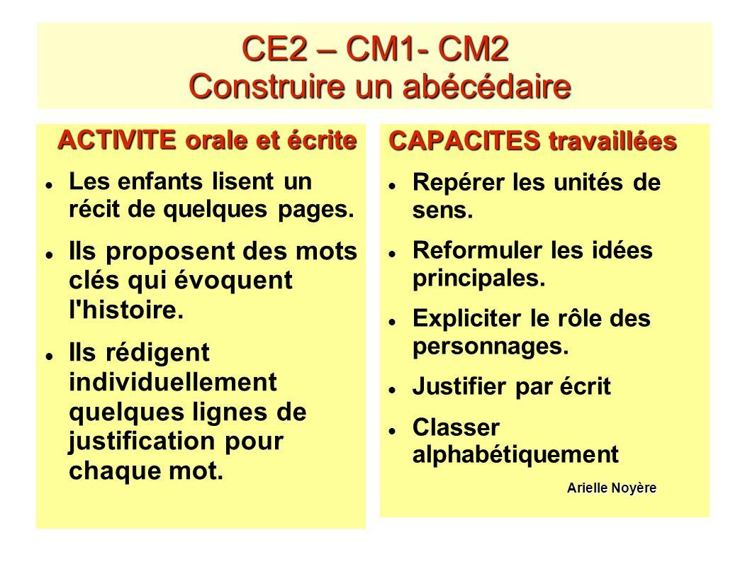 CE2 – CM1- CM2 Construire un abécédaire