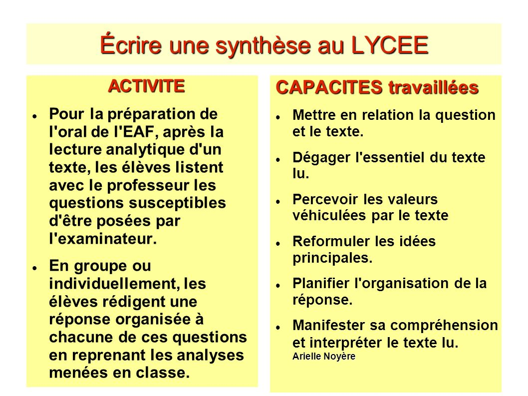 Écrire une synthèse au LYCEE