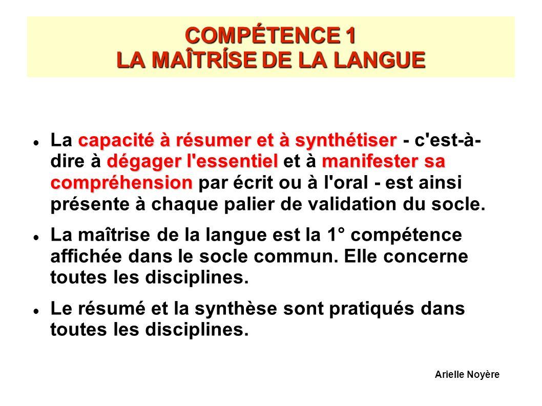 COMPÉTENCE 1 LA MAÎTRÍSE DE LA LANGUE
