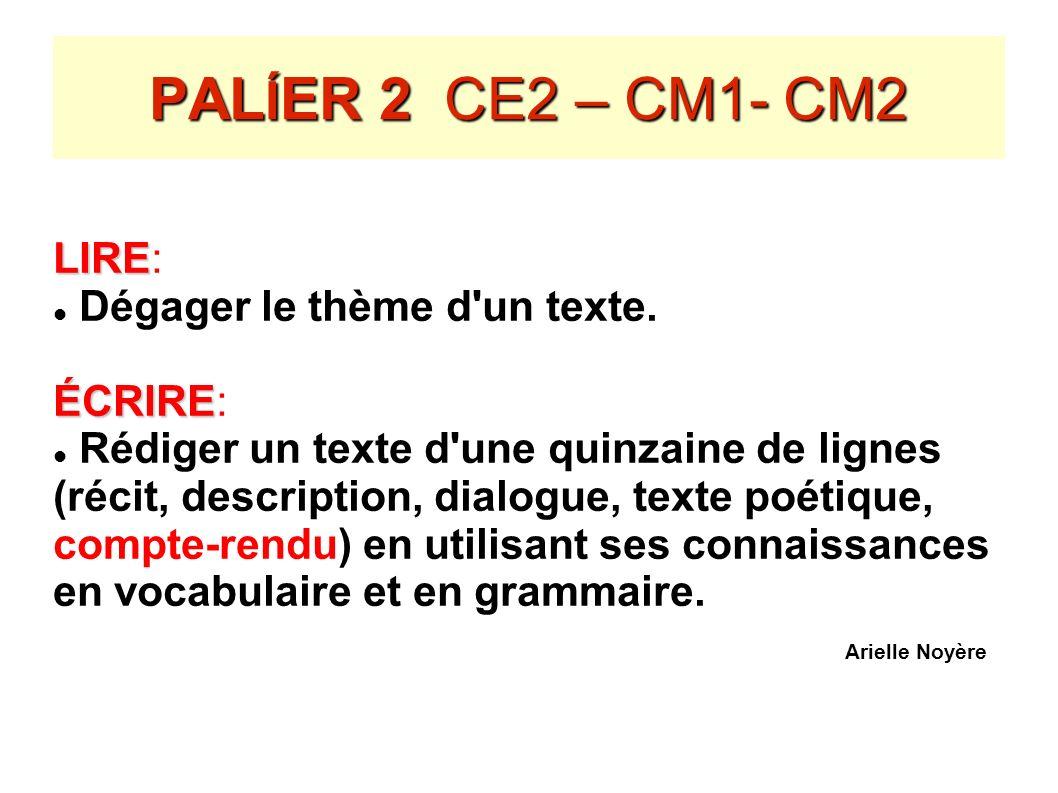PALÍER 2 CE2 – CM1- CM2 LIRE: Dégager le thème d un texte. ÉCRIRE: