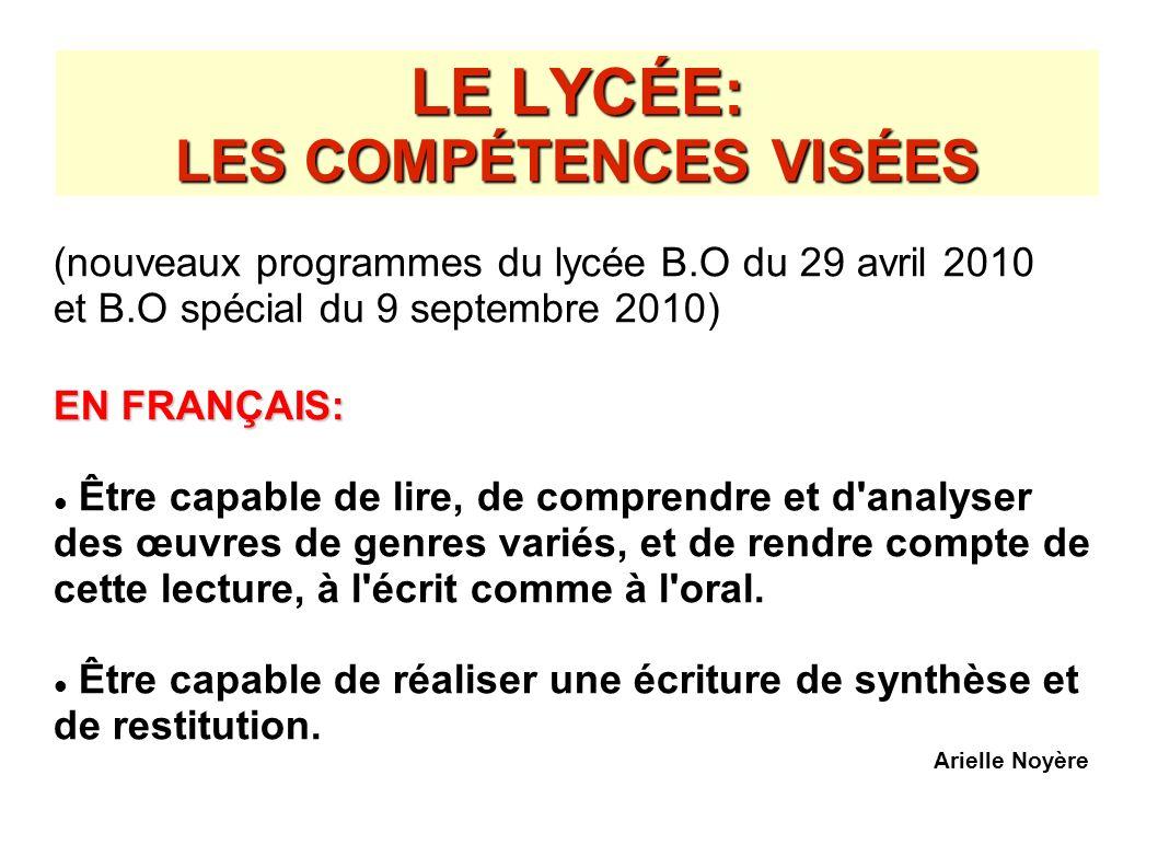 LE LYCÉE: LES COMPÉTENCES VISÉES
