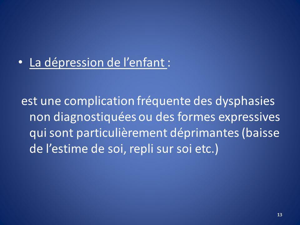 La dépression de l'enfant :