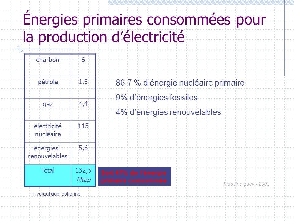 Énergies primaires consommées pour la production d'électricité