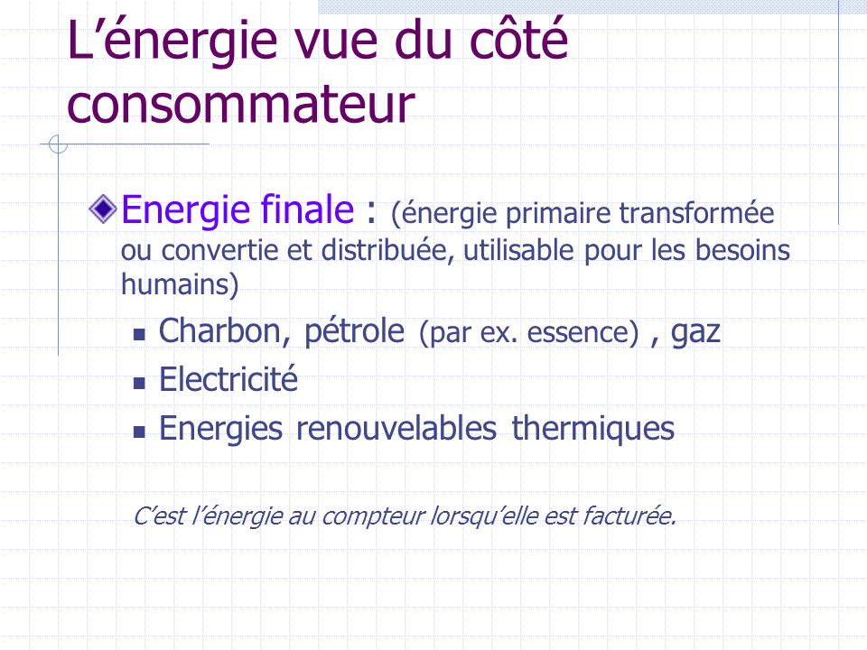 L'énergie vue du côté consommateur