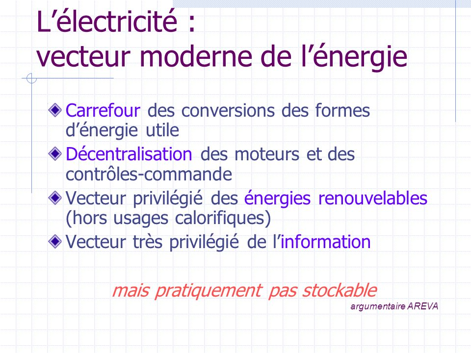 L'électricité : vecteur moderne de l'énergie