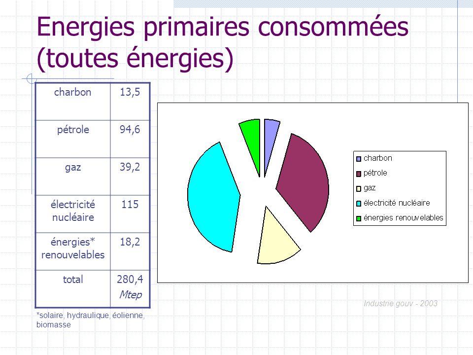 Energies primaires consommées (toutes énergies)