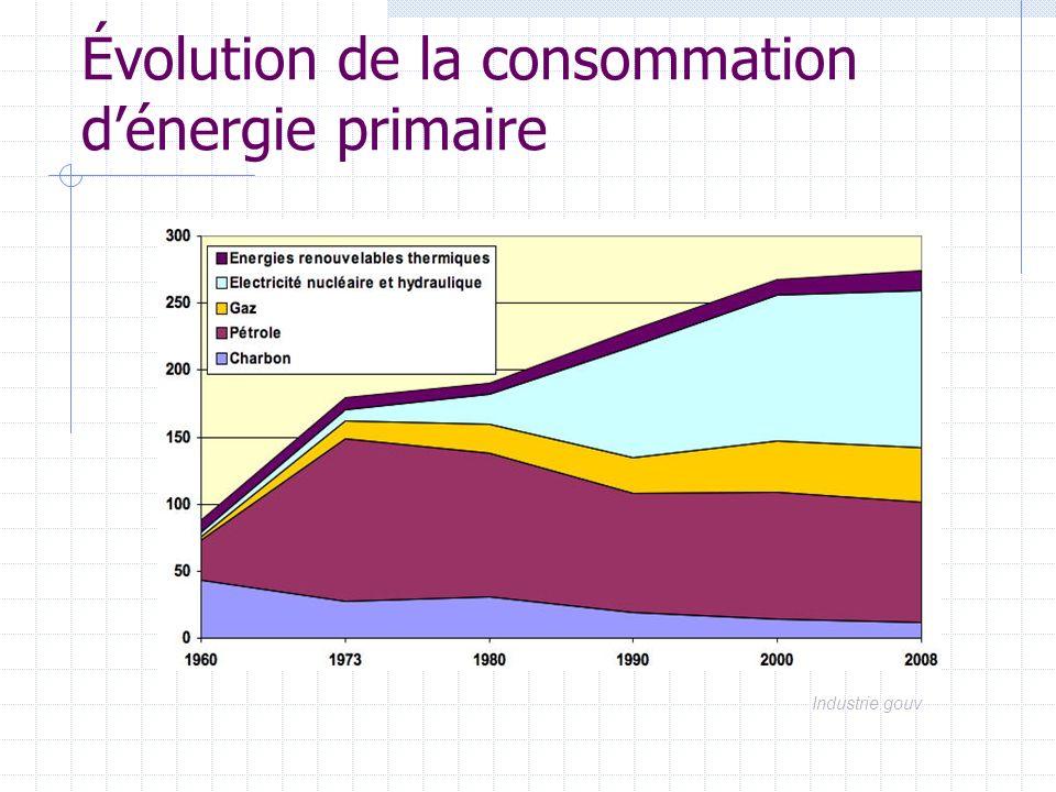 Évolution de la consommation d'énergie primaire