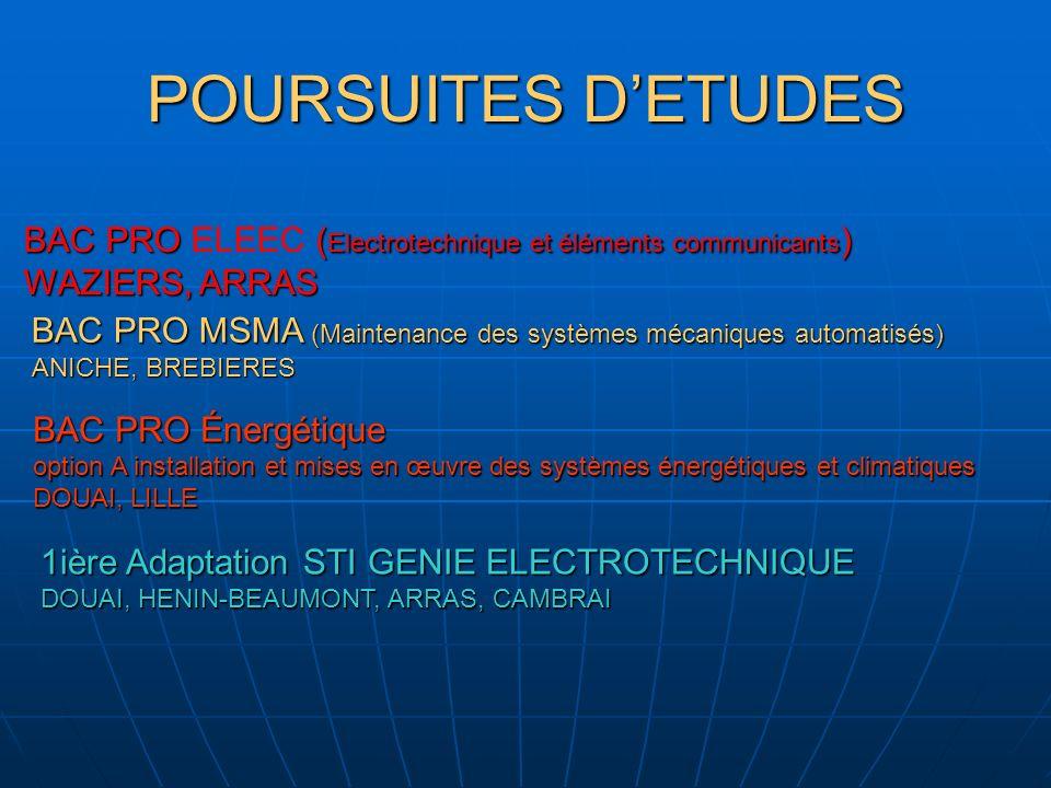 POURSUITES D'ETUDES BAC PRO ELEEC (Electrotechnique et éléments communicants) WAZIERS, ARRAS.