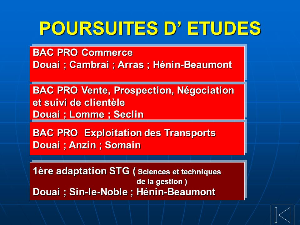 POURSUITES D' ETUDES BAC PRO Commerce