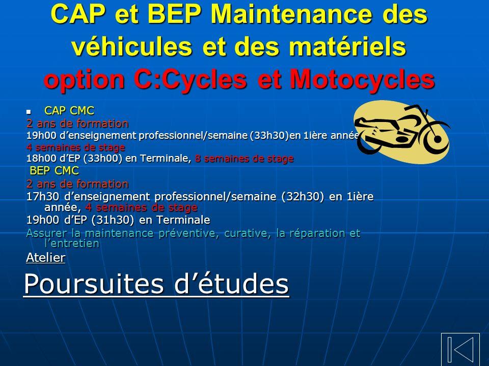 CAP et BEP Maintenance des véhicules et des matériels option C:Cycles et Motocycles