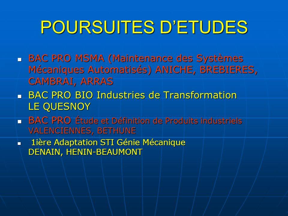 POURSUITES D'ETUDES BAC PRO MSMA (Maintenance des Systèmes Mécaniques Automatisés) ANICHE, BREBIERES, CAMBRAI, ARRAS.
