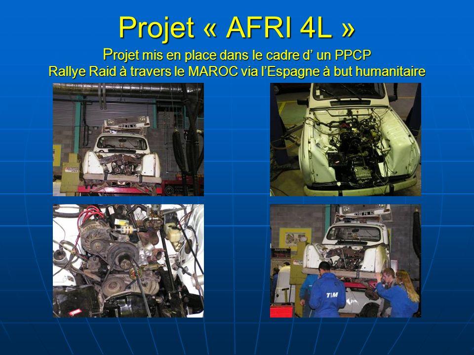 Projet « AFRI 4L » Projet mis en place dans le cadre d' un PPCP Rallye Raid à travers le MAROC via l'Espagne à but humanitaire