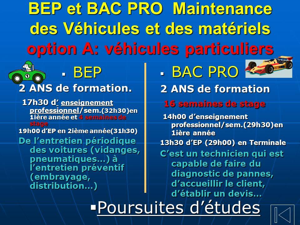 BEP et BAC PRO Maintenance des Véhicules et des matériels option A: véhicules particuliers