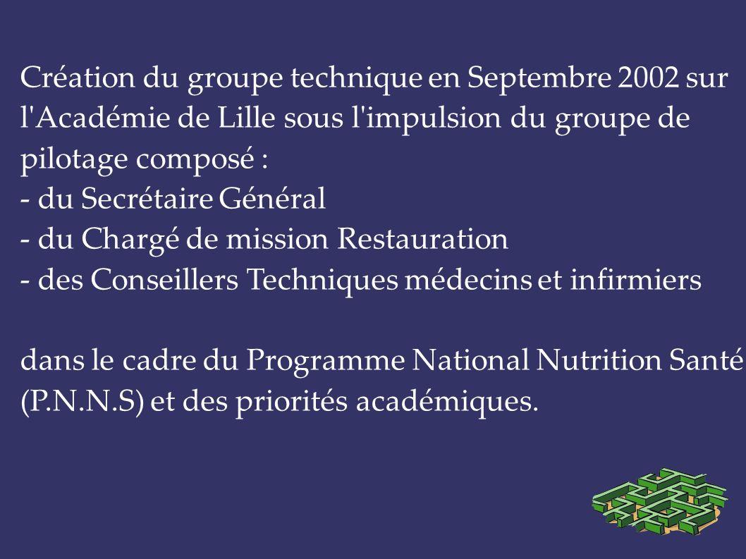 Création du groupe technique en Septembre 2002 sur l Académie de Lille sous l impulsion du groupe de pilotage composé :