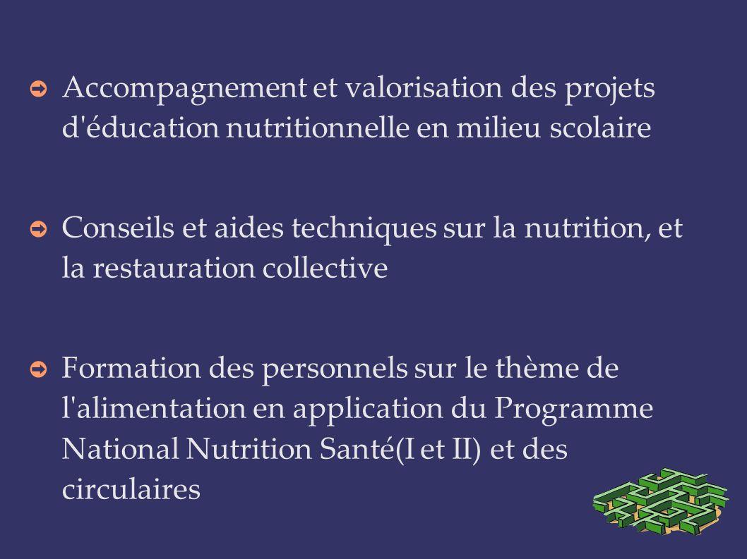 Accompagnement et valorisation des projets d éducation nutritionnelle en milieu scolaire
