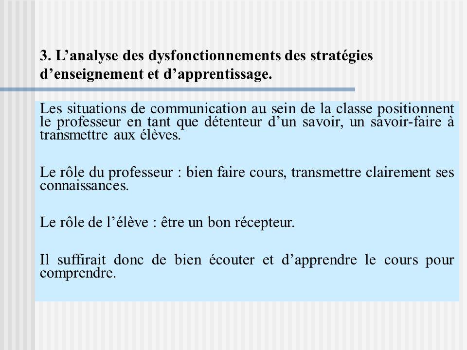 3. L'analyse des dysfonctionnements des stratégies d'enseignement et d'apprentissage.