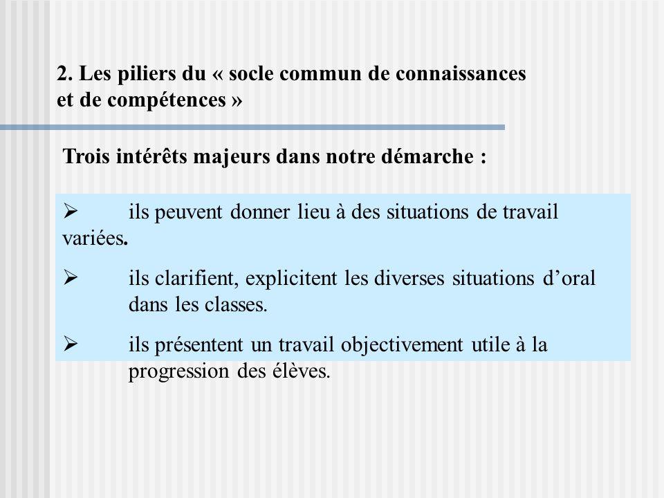 2. Les piliers du « socle commun de connaissances et de compétences »