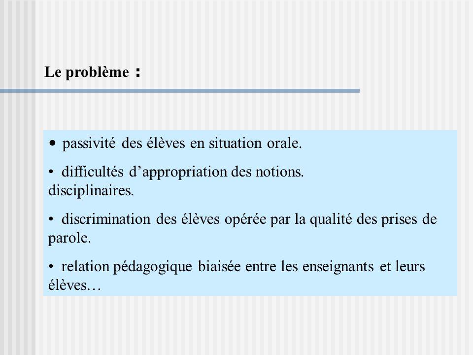 Le problème : passivité des élèves en situation orale. difficultés d'appropriation des notions. disciplinaires.