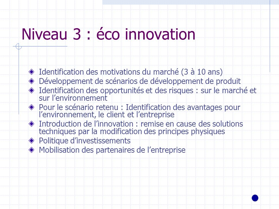 Niveau 3 : éco innovation