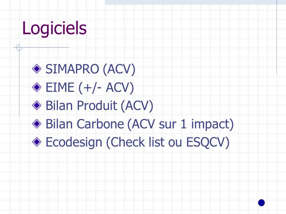 Logiciels SIMAPRO (ACV) EIME (+/- ACV) Bilan Produit (ACV)
