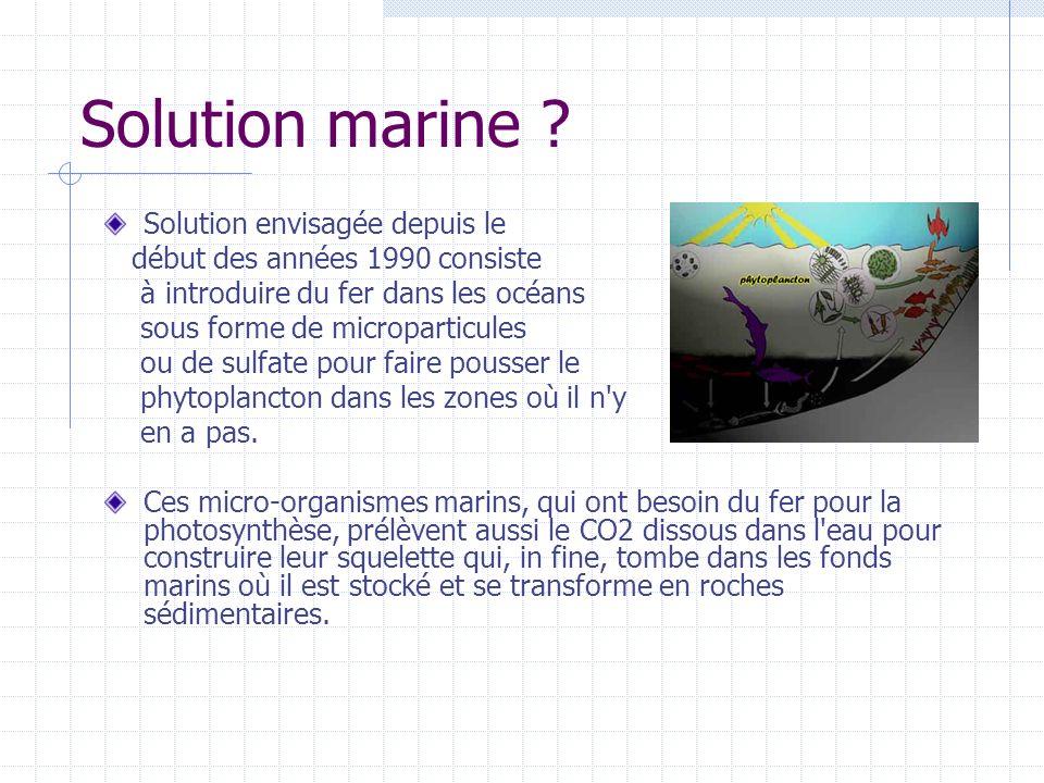 Solution marine Solution envisagée depuis le
