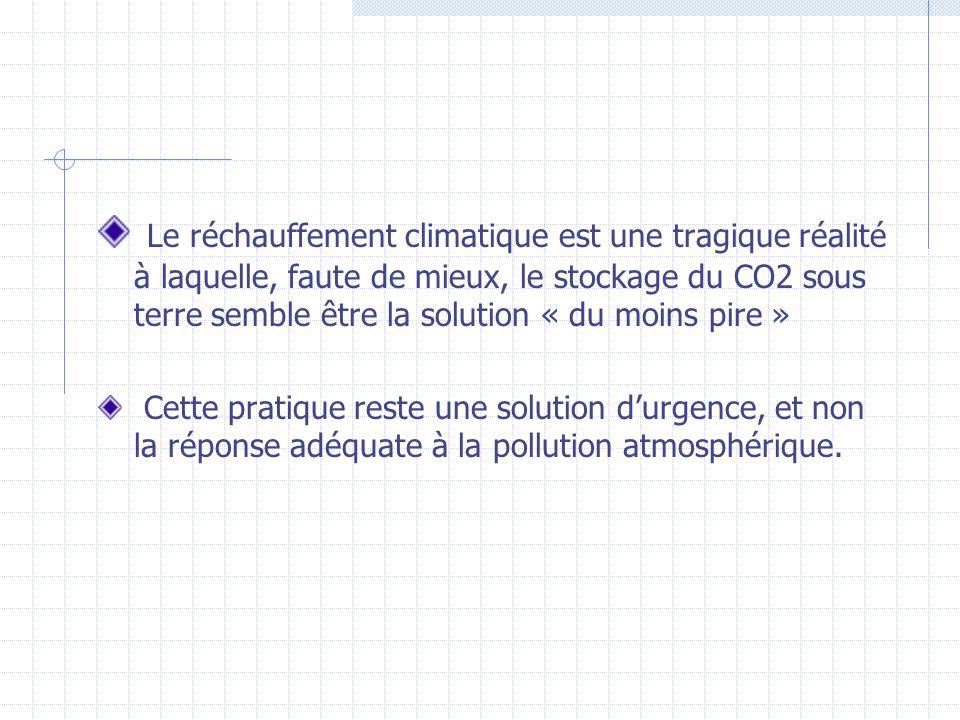 Le réchauffement climatique est une tragique réalité à laquelle, faute de mieux, le stockage du CO2 sous terre semble être la solution « du moins pire »