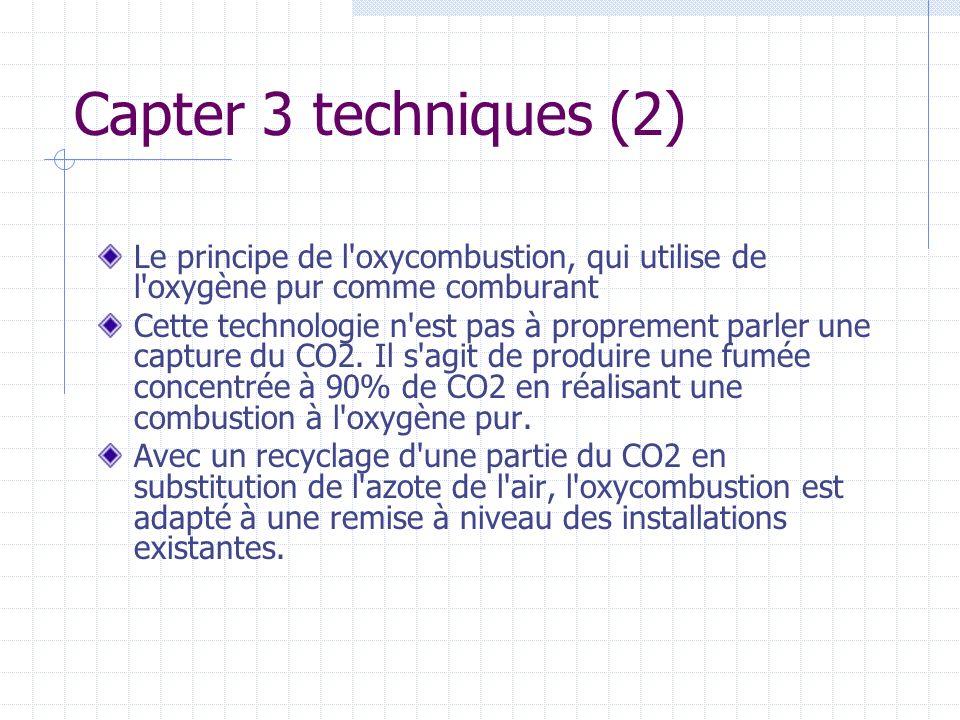 Capter 3 techniques (2) Le principe de l oxycombustion, qui utilise de l oxygène pur comme comburant.
