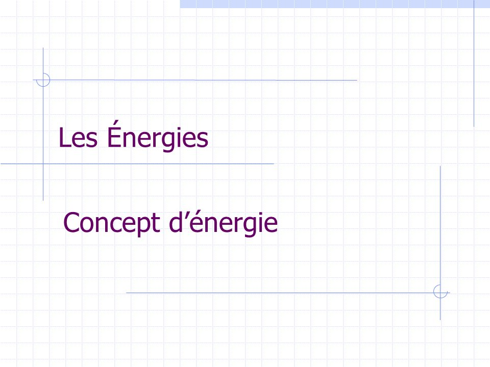 Les Énergies Concept d'énergie